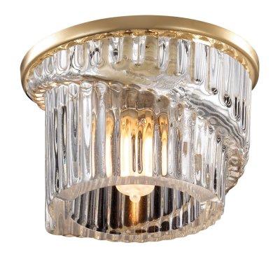 Novotech DEW 369901 Встраиваемый светильникХрустальные<br>Декоративный встраиваемый светильник модели Novotech 369901 из серии DEW отличается следующим качеством: Основание светильника сделано из металла. Это популярный и востребованный материал благодаря ряду качеств. К ним относится: повышенная прочность, износостойкость и долговечность. Любому интерьеру они придадут солидности и завершенности, помогут расставить акценты. Плафон изготовлен из хрусталя.  Он обладает высоким показателем плотности, прозрачности и блеска. Благодаря содержанию свинца (не менее 30%) и определённому подбору углов, образуемых гранями, изделия из хрусталя отличаются необыкновенно яркой, многоцветной игрой света, чарующей магией красоты, совершенства и роскоши.<br><br>S освещ. до, м2: 3<br>Тип лампы: галогенная<br>Тип цоколя: G9<br>Количество ламп: 1<br>MAX мощность ламп, Вт: 40<br>Диаметр, мм мм: 75<br>Диаметр врезного отверстия, мм: 60<br>Цвет арматуры: Золотой