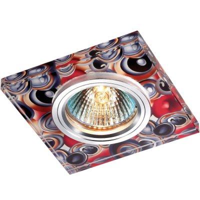Novotech RAINBOW 369910 Встраиваемый светильникКвадратные<br>Декоративный встраиваемый светильник модели Novotech 369910 из серии RAINBOW отличается следующим качеством: Основание светильника – алюминий. Это лёгкий металл, основными  достоинствами которого являются — устойчивость к практически всем видам негативного воздействия окружающей среды, коррозии, небольшой вес, по сравнению с другими видами металла и   экологическая безопасность материала.  Декоративный красочный плафон произведен из стекла. Стекло экологично,  не тускнеет и не меняет своего оттенка со временем, не покрывается некрасивым налетом и легко выдерживает перепады температур.<br><br>S освещ. до, м2: 3<br>Тип лампы: галогенная<br>Тип цоколя: GU5.3 (MR16)<br>Количество ламп: 1<br>MAX мощность ламп, Вт: 50<br>Диаметр, мм мм: 90<br>Диаметр врезного отверстия, мм: 65