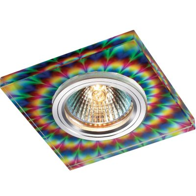 Novotech RAINBOW 369912 Встраиваемый светильникКвадратные<br>Декоративный встраиваемый светильник модели Novotech 369912 из серии RAINBOW отличается следующим качеством: Основание светильника – алюминий. Это лёгкий металл, основными  достоинствами которого являются — устойчивость к практически всем видам негативного воздействия окружающей среды, коррозии, небольшой вес, по сравнению с другими видами металла и   экологическая безопасность материала.  Декоративный красочный плафон произведен из стекла. Стекло экологично,  не тускнеет и не меняет своего оттенка со временем, не покрывается некрасивым налетом и легко выдерживает перепады температур.<br><br>S освещ. до, м2: 3<br>Тип лампы: галогенная<br>Тип цоколя: GU5.3 (MR16)<br>Количество ламп: 1<br>MAX мощность ламп, Вт: 50<br>Диаметр, мм мм: 90<br>Диаметр врезного отверстия, мм: 65