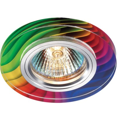 Novotech RAINBOW 369915 Встраиваемый светильникКруглые<br>Декоративный встраиваемый светильник модели Novotech 369915 из серии RAINBOW отличается следующим качеством: Основание светильника – алюминий. Это лёгкий металл, основными  достоинствами которого являются — устойчивость к практически всем видам негативного воздействия окружающей среды, коррозии, небольшой вес, по сравнению с другими видами металла и   экологическая безопасность материала.  Декоративный красочный плафон произведен из стекла. Стекло экологично,  не тускнеет и не меняет своего оттенка со временем, не покрывается некрасивым налетом и легко выдерживает перепады температур.<br><br>S освещ. до, м2: 3<br>Тип лампы: галогенная<br>Тип цоколя: GU5.3 (MR16)<br>Количество ламп: 1<br>MAX мощность ламп, Вт: 50<br>Диаметр, мм мм: 90<br>Диаметр врезного отверстия, мм: 65