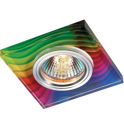 Novotech RAINBOW 369916 Встраиваемый светильникКвадратные<br>Декоративный встраиваемый светильник модели Novotech 369916 из серии RAINBOW отличается следующим качеством: Основание светильника – алюминий. Это лёгкий металл, основными  достоинствами которого являются — устойчивость к практически всем видам негативного воздействия окружающей среды, коррозии, небольшой вес, по сравнению с другими видами металла и   экологическая безопасность материала.  Декоративный красочный плафон произведен из стекла. Стекло экологично,  не тускнеет и не меняет своего оттенка со временем, не покрывается некрасивым налетом и легко выдерживает перепады температур.<br><br>S освещ. до, м2: 3<br>Тип лампы: галогенная<br>Тип цоколя: GU5.3 (MR16)<br>Количество ламп: 1<br>MAX мощность ламп, Вт: 50<br>Диаметр, мм мм: 90<br>Диаметр врезного отверстия, мм: 65