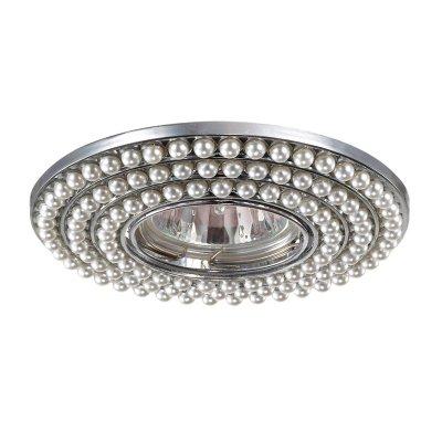 Светильник Novotech 370141Круглые<br><br><br>S освещ. до, м2: 3<br>Тип товара: Встраиваемый светильник<br>Тип лампы: галогенная/LED<br>Тип цоколя: GU5.3 (MR16)<br>Количество ламп: 1<br>MAX мощность ламп, Вт: 50<br>Диаметр, мм мм: 115<br>Диаметр врезного отверстия, мм: 75<br>Высота, мм: 10<br>Цвет арматуры: серебристый