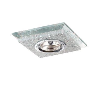 Novotech FLOE 370147 Встраиваемый светильникКвадратные<br>Декоративный встраиваемый светильник модели Novotech 370147 из серии FLOE отличается следующим качеством: Корпус светильника – алюминиевое литьё. Это лёгкий серебристо-белый металл, основными  достоинствами которого являются — устойчивость к практически всем видам негативного воздействия окружающей среды, коррозии, небольшой вес, по сравнению с другими видами металла и   экологическая безопасность материала.  Украшение светильника выпалненно из хрусталя. Он обладает высоким показателем плотности, прозрачности и блеска. Благодаря содержанию свинца (не менее 30%) и определённому подбору углов, образуемых гранями, изделия из хрусталя отличаются необыкновенно яркой, многоцветной игрой света, чарующей магией красоты, совершенства и роскоши.<br><br>S освещ. до, м2: 3<br>Тип лампы: накал-я - энергосбер-я<br>Тип цоколя: GU5.3 (MR16)<br>Цвет арматуры: серебристый<br>Количество ламп: 1<br>Ширина, мм: 110<br>Диаметр врезного отверстия, мм: 55<br>Длина, мм: 110<br>Высота, мм: 20<br>MAX мощность ламп, Вт: 50