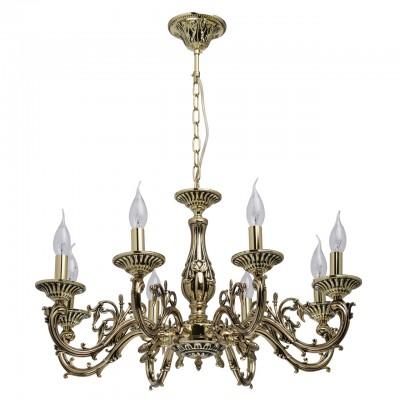 Светильник Mw-light 371014508Подвесные<br><br><br>Тип лампы: Накаливания / энергосбережения / светодиодная<br>Тип цоколя: E14<br>Цвет арматуры: золотой<br>Количество ламп: 8<br>Диаметр, мм мм: 680<br>Высота, мм: 700