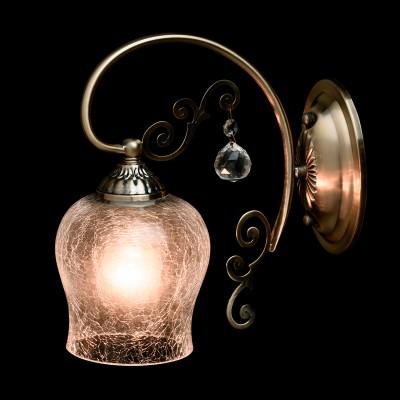 Светильник настенный бра Mw light 372021601 МоникаКлассические<br>Аристократичная величественность, праздничная торжественность  - всё это в роскошном светильнике из коллекции «Моника», выполненном в стиле легкой ковки.  Металлическое основание окрашено в цвет благородной античной бронзы и прекрасно гармонирует с плафоном из массивного льдистого стекла. Патрон светильника декорирован с помощью металлической гайки в цвет арматуры. Рекомендуемая площадь освещения порядка 3 кв.м<br><br>S освещ. до, м2: 3<br>Тип лампы: Накаливания / энергосбережения / светодиодная<br>Тип цоколя: E27<br>Количество ламп: 1<br>Ширина, мм: 120<br>MAX мощность ламп, Вт: 60<br>Длина, мм: 250<br>Высота, мм: 250<br>Цвет арматуры: бронзовый<br>Общая мощность, Вт: 60