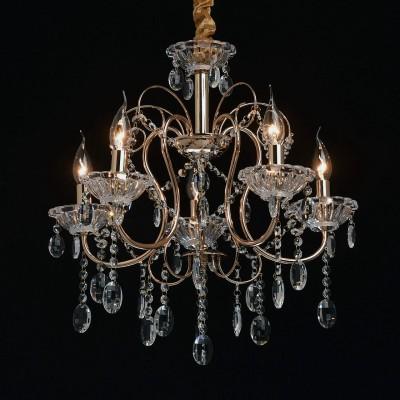 Mw light 373012205 СветильникПодвесные<br><br><br>Установка на натяжной потолок: Да<br>S освещ. до, м2: 10<br>Тип лампы: Накаливания / энергосбережения / светодиодная<br>Тип цоколя: E14<br>Количество ламп: 5<br>MAX мощность ламп, Вт: 40<br>Диаметр, мм мм: 520<br>Высота, мм: 690 - 970<br>Цвет арматуры: золотой