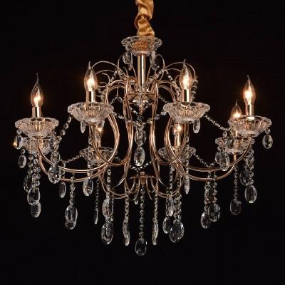 Mw light 373012308 СветильникПодвесные<br><br><br>Установка на натяжной потолок: Да<br>S освещ. до, м2: 16<br>Тип лампы: Накаливания / энергосбережения / светодиодная<br>Тип цоколя: E14<br>Цвет арматуры: золотой<br>Количество ламп: 8<br>Диаметр, мм мм: 750<br>Высота, мм: 800 - 1040<br>MAX мощность ламп, Вт: 40