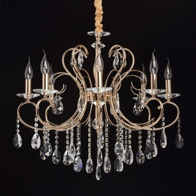 Mw light 373012808 СветильникПодвесные<br><br><br>Установка на натяжной потолок: Да<br>S освещ. до, м2: 16<br>Тип лампы: Накаливания / энергосбережения / светодиодная<br>Тип цоколя: E14<br>Цвет арматуры: золотой<br>Количество ламп: 8<br>Диаметр, мм мм: 700<br>Высота, мм: 790 - 1000<br>MAX мощность ламп, Вт: 40