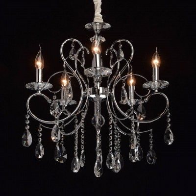 Mw light 373013205 СветильникПодвесные<br><br><br>Установка на натяжной потолок: Да<br>S освещ. до, м2: 10<br>Тип лампы: Накаливания / энергосбережения / светодиодная<br>Тип цоколя: E14<br>Цвет арматуры: серебристый<br>Количество ламп: 5<br>Диаметр, мм мм: 560<br>Высота, мм: 790 - 1000<br>MAX мощность ламп, Вт: 40