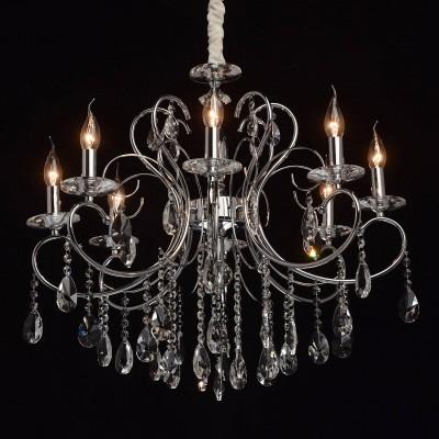 Mw light 373013308 СветильникПодвесные<br><br><br>Установка на натяжной потолок: Да<br>S освещ. до, м2: 3<br>Тип лампы: Накаливания / энергосбережения / светодиодная<br>Тип цоколя: E14<br>Количество ламп: 8<br>MAX мощность ламп, Вт: 8<br>Диаметр, мм мм: 700<br>Высота, мм: 790 - 1000<br>Цвет арматуры: серебристый