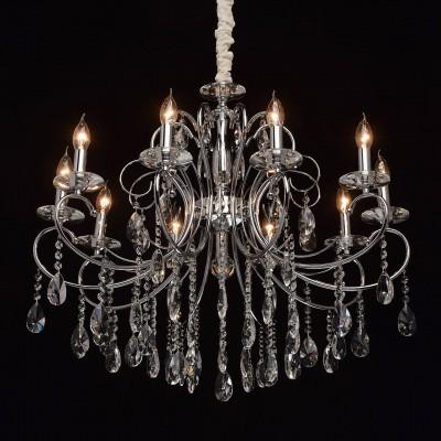 Mw light 373013410 СветильникПодвесные<br><br><br>Установка на натяжной потолок: Да<br>S освещ. до, м2: 20<br>Тип лампы: Накаливания / энергосбережения / светодиодная<br>Тип цоколя: E14<br>Цвет арматуры: серебристый<br>Количество ламп: 10<br>Диаметр, мм мм: 780<br>Высота, мм: 840 - 1080<br>MAX мощность ламп, Вт: 40