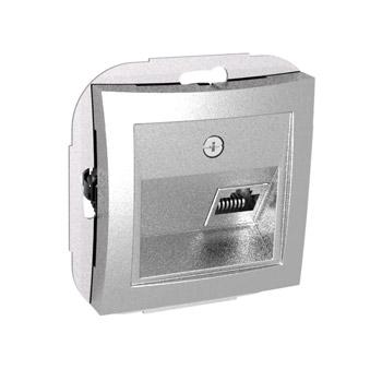 Lexel Дуэт серебро телефонная розетка RJ11, одиночная (SE WDE000381)розетки и выключатели LEXEL Дуэт серебро<br><br><br>Оттенок (цвет): серебристый