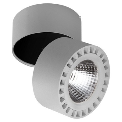 Светильник накладной светодиодный Lightstar 381394 Forteодиночные споты<br>Крепление: ; Внешние габариты: D125 H130; Материал - основание/плафон: металл; Цвет-основание/плафон: серый; Лампа: LED 35W= 350W Световой поток: 3500LM; 4000К ; Угол рассеивания: 30G; Встроенный трансформатор