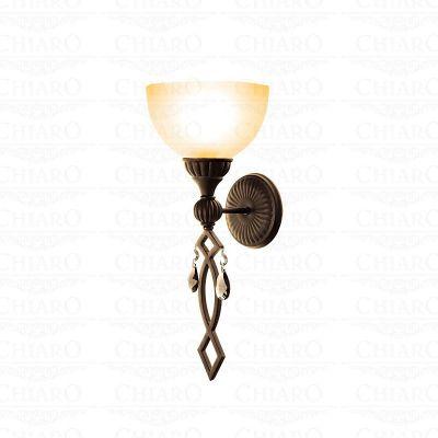 Светильник настенный бра Chiaro 382020301 АйвенгоРустика<br>Описание модели 382020301: Свет, сияющий через декоративное стекло плафона в светильнике Айвенго, очаровывает своей особой радужной палитрой! Хорошей огранкой для такого тёплого великолепного свечения служит сдержанное по деталям кованое основание. Поблёскивающие хрустальные капли в декоре навевают лёгкую романтику и загадочность. Благородный вид зажжёного светильника доставляет эстетическую радость!<br><br>S освещ. до, м2: 3<br>Тип лампы: накаливания / энергосбережения / LED-светодиодная<br>Тип цоколя: E27<br>Цвет арматуры: бронзовый<br>Количество ламп: 1<br>Ширина, мм: 200<br>Длина, мм: 200<br>Высота, мм: 490<br>Поверхность арматуры: матовый, рельефный<br>MAX мощность ламп, Вт: 60