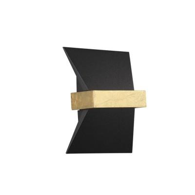 Светильник Odeon light 3835/7WLБра хай тек стиля<br>Строгие линии черного металла в эффектном обрамлении из золотого фольгирования выделяют серию Bilbao среди множества других настенных подсветок. этого сезона. Сочетание черного с золотом - самое трендовое и эффектное сочетание