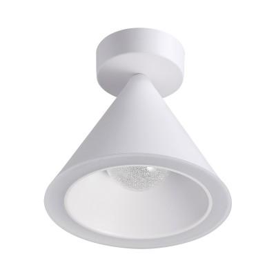 Потолочный светильник Odeon light 3837/15CL TAPERсветильники стаканы потолочные<br>Стильный накладной и подвесной светильник черного и белого цвета исполнен влаконичных линиях. Плафон выполнен в виде конуса, по краям которого расположенакриловый рассеиватель, дающий яркий свет 6500К. Внутри светильника - шар схрустальной крошкой, эффектно рассеивающий теплый свет 3000K.
