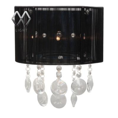 Светильник настенный бра Mw light 384025103 Каскад02Модерн<br>Описание модели 384025103: Необычный настенный светильник  из коллекции «Каскад» подчеркнет хороший вкус своего обладателя и станет прекрасным дополнением современного интерьера. Хромированное металлическое основание гармонично сочетается с абажуром, обтянутым чёрными атласными нитями. Темные оттенки создают ореол таинственности, а особый шарм и изыск этому неповторимому светильнику придают крупные хрустальные подвесы оригинальной формы огранки. Они оживляют композицию и подчеркивают безупречный стиль интерьера. Рекомендуемая площадь освещения 4 кв.м.<br><br>S освещ. до, м2: 4<br>Рекомендуемые колбы ламп: пальчиковая<br>Цветовая t, К: 2800-3200 K<br>Тип лампы: галогенная / LED-светодиодная<br>Тип цоколя: G4<br>Количество ламп: 3<br>Ширина, мм: 240<br>MAX мощность ламп, Вт: 20<br>Длина, мм: 290<br>Высота, мм: 150<br>Поверхность арматуры: глянцевый<br>Цвет арматуры: серебристый<br>Общая мощность, Вт: 60