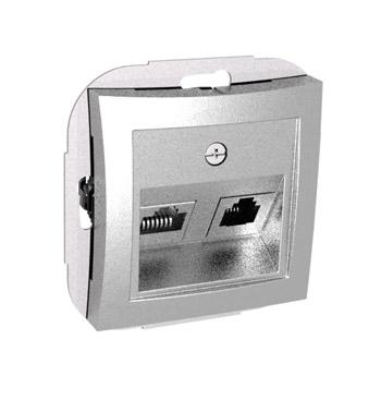 Lexel Дуэт серебро Розетка двойная RJ11+RJ45 телефон+компьютер кат. 5e (SE WDE000385)Серебро<br><br><br>Оттенок (цвет): серебристый