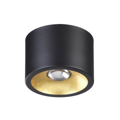 Потолочный светильник Odeon light 3875/1CL GLASGOWсветильники стаканы потолочные<br>Корпус потолочного накладного светильника выполнен в черном матовом цвете, внутренняя часть - в трендовом цвете золотистого фольгирования. В светильнике используются сменные лампы с цоколем GU10: смену лампы можно осуществить за счет съемного верхнего корпуса.