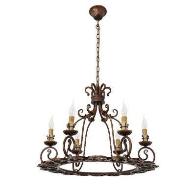 Люстра Chiaro 389011306 МагдалинаПодвесные<br>Описание модели 389011306: Для освещения интерьера, стилизованного под средневековый стиль, дизайнеры доверяют  люстрам с нарочито выделяющимися лампочками, имитирующими декоративные старинные свечи. Вытянутые формы и округлые каркасы светильников переносят в эпоху древнеримской архитектуры, когда форма четко соответствовала содержанию.<br><br>Установка на натяжной потолок: Да<br>S освещ. до, м2: 18<br>Крепление: Крюк<br>Тип лампы: накаливания / энергосбережения / LED-светодиодная<br>Тип цоколя: E14<br>Количество ламп: 6<br>MAX мощность ламп, Вт: 60<br>Диаметр, мм мм: 720<br>Длина цепи/провода, мм: 750<br>Высота, мм: 1450