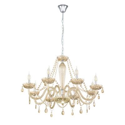 39093 Eglo - Люстра BASILANOПодвесные<br><br><br>Установка на натяжной потолок: Да<br>S освещ. до, м2: 16<br>Тип лампы: Накаливания / энергосбережения / светодиодная<br>Тип цоколя: E14<br>Количество ламп: 8<br>MAX мощность ламп, Вт: 40<br>Диаметр, мм мм: 820<br>Высота, мм: 1300