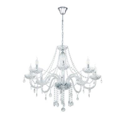 39101 Eglo - Люстра BASILANO 1Подвесные<br><br><br>Установка на натяжной потолок: Да<br>S освещ. до, м2: 16<br>Тип лампы: Накаливания / энергосбережения / светодиодная<br>Тип цоколя: E14<br>Количество ламп: 8<br>MAX мощность ламп, Вт: 40<br>Диаметр, мм мм: 820<br>Высота, мм: 1300
