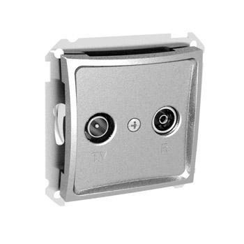 Lexel Дуэт серебро Розетка телевизионная TV-R одиночная 2dB (SE WDE000393)Серебро<br><br><br>Оттенок (цвет): серебристый