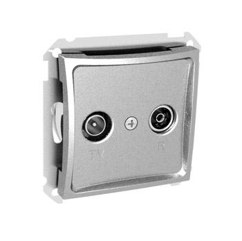 Lexel Дуэт серебро Розетка телевизионная TV-R проходная 11dB (SE WDE000395)Серебро<br><br><br>Оттенок (цвет): серебристый