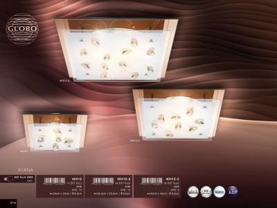 Светильник Globo 40412 AyanaПотолочные<br><br><br>Установка на натяжной потолок: Ограничено<br>S освещ. до, м2: 2<br>Крепление: Планка<br>Тип товара: Светильник настенно-потолочный<br>Скидка, %: 60<br>Тип лампы: накаливания / энергосбережения / LED-светодиодная<br>Тип цоколя: E27 ILLU<br>Количество ламп: 1<br>Ширина, мм: 240<br>MAX мощность ламп, Вт: 40<br>Длина, мм: 240<br>Высота, мм: 85<br>Цвет арматуры: желтый