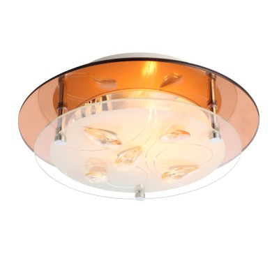 Светильник Globo 40413 AyanaПотолочные<br><br><br>Установка на натяжной потолок: Ограничено<br>S освещ. до, м2: 1<br>Крепление: Планка<br>Тип товара: Светильник настенно-потолочный<br>Скидка, %: 53<br>Цветовая t, К: 3000<br>Тип лампы: накаливания / энергосберегающая / светодиодная<br>Тип цоколя: E27 ILLU<br>Количество ламп: 1<br>MAX мощность ламп, Вт: 40<br>Диаметр, мм мм: 250<br>Высота, мм: 85<br>Поверхность арматуры: матовый, глянцевый<br>Цвет арматуры: бронзовый