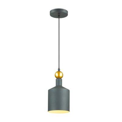 Подвес Odeon light 4085/1 BOLLIодиночные подвесные светильники<br>Серия Bolli выполнена в стиле минимализм и идеально впишется в современные интерьеры в стиле лофт, хай-тек, минимализм. Светильник имеет четкие, но плавные линии и довольно простую форму. Плафон и основание светильника выполнены из металла и окрашены в холодные оттенки: черный, серый, белый. Верхушку плафона украшает небольшой золотой шар, преображающий брутальный вид и придающий некую изюминку индустриальному дизайну