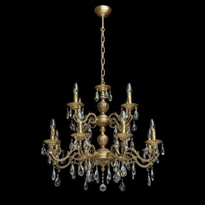 Люстра Chiaro 411012612 ПаулаПодвесные<br>Описание модели 411012612: Завораживающая своей ослепительной красотой люстра из коллекции Паула может стать завершающим аккордом интерьера в стиле барокко. Основание из благородной латуни, продуманные до мельчайших подробностей отточенные детали – всё напоминает  о пышном убранстве средневековых дворцов.   Изящные, округлые линии, тонкие завитки, прозрачные хрустальные подвески и сказочная игра света  говорят о том, что  эта роскошная люстра предназначена для истинных гурманов.  Рекомендуемая площадь освещения порядка 36 кв.м.<br><br>Установка на натяжной потолок: Да<br>S освещ. до, м2: 36<br>Крепление: Крюк<br>Тип лампы: Накаливания / энергосбережения / светодиодная<br>Тип цоколя: E14<br>Количество ламп: 12<br>MAX мощность ламп, Вт: 60<br>Диаметр, мм мм: 800<br>Длина цепи/провода, мм: 360<br>Высота, мм: 1240<br>Поверхность арматуры: матовый<br>Цвет арматуры: латунь<br>Общая мощность, Вт: 720