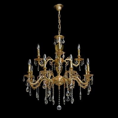 Люстра Chiaro 411012912 ПаулаПодвесные<br>Описание модели 411012912: Завораживающая своей ослепительной красотой люстра из коллекции Паула может стать завершающим аккордом интерьера в стиле барокко. Основание из благородной латуни, продуманные до мельчайших подробностей отточенные детали – всё напоминает  о пышном убранстве средневековых дворцов.   Изящные, округлые линии, тонкие завитки, прозрачные хрустальные камни и сказочная игра света  говорят о том, что  эта роскошная люстра предназначена для истинных гурманов.  Рекомендуемая площадь освещения порядка 36 кв.м<br><br>Установка на натяжной потолок: Да<br>S освещ. до, м2: 36<br>Крепление: Крюк<br>Тип лампы: Накаливания / энергосбережения / светодиодная<br>Тип цоколя: E14<br>Количество ламп: 12<br>MAX мощность ламп, Вт: 60<br>Диаметр, мм мм: 800<br>Длина цепи/провода, мм: 250<br>Высота, мм: 1320<br>Цвет арматуры: бронзовый