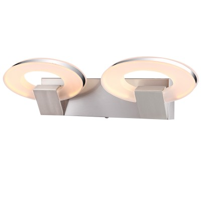 Светильник бра светодиодная Globo 41110-2Хай-тек<br><br><br>Тип лампы: LED<br>Тип цоколя: LED<br>Количество ламп: 2<br>Ширина, мм: 95<br>MAX мощность ламп, Вт: 8<br>Длина, мм: 430<br>Высота, мм: 130<br>Цвет арматуры: серебристый