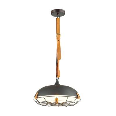 Подвес Odeon light 4151/1 BRENTодиночные подвесные светильники<br>Светильник Brent выполнен в ультрасовременном дизайне и будет идеально смотреться в интерьерах в стиле лофт. Корпус плафона изготовлен из металла и декорирован тонкой металлической решеткой. Ключевым элементом в светильнике является и темный кожаный ремень, на котором крепится плафон. Необычное сочетание материалов создают эффект прочности, долговечности и респектабельности. Светильник подойдет как для освещения жилых комнат, так и для оформления брутальных баров или барбершопов