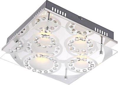 Светильник потолочный Globo 41690-4 TisoyКвадратные<br>Настенно-потолочные светильники – это универсальные осветительные варианты, которые подходят для вертикального и горизонтального монтажа. В интернет-магазине «Светодом» Вы можете приобрести подобные модели по выгодной стоимости. В нашем каталоге представлены как бюджетные варианты, так и эксклюзивные изделия от производителей, которые уже давно заслужили доверие дизайнеров и простых покупателей. <br>Настенно-потолочный светильник Globo Globo 41690-4 станет прекрасным дополнением к основному освещению. Благодаря качественному исполнению и применению современных технологий при производстве эта модель будет радовать Вас своим привлекательным внешним видом долгое время. <br>Приобрести настенно-потолочный светильник Globo Globo 41690-4 можно, находясь в любой точке России.<br><br>S освещ. до, м2: 15<br>Тип лампы: LED - светодиодная<br>Тип цоколя: LED<br>Количество ламп: 4<br>Ширина, мм: 300<br>MAX мощность ламп, Вт: 5<br>Длина, мм: 300<br>Высота, мм: 95<br>Цвет арматуры: серебристый