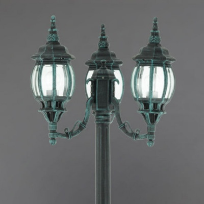 Eglo OUTDOOR CLASSIC 4171 светильник уличныйБольшие фонари<br>Парковые светильники EGLO OUTDOOR CLASSIC (IP23) — светильники для наружного освещения. Степень защиты IP23 — защита от твердых тел gt;  12 мм, защита от дождя. Плафоны из прозрачного пластика. Арматура из алюминия. Светильники рассчитаны на обычную лампу E27 100W max. Цвет: зеленый антик (black-green).<br><br>Тип лампы: накаливания / энергосбережения / LED-светодиодная<br>Тип цоколя: E27<br>Цвет арматуры: зеленый<br>Диаметр, мм мм: 530<br>Размеры основания, мм: 250<br>Высота, мм: 2130<br>Оттенок (цвет): прозрачный<br>MAX мощность ламп, Вт: 3X60<br>Общая мощность, Вт: 2