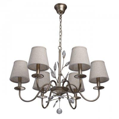 Mw light 419011206 СветильникПодвесные<br><br><br>Установка на натяжной потолок: Да<br>S освещ. до, м2: 18<br>Тип лампы: Накаливания / энергосбережения / светодиодная<br>Тип цоколя: E14<br>Цвет арматуры: золотой<br>Количество ламп: 6<br>Диаметр, мм мм: 710<br>Высота, мм: 610 - 950<br>MAX мощность ламп, Вт: 60