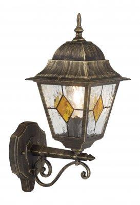 Светильник уличный Brilliant 43881/86 JasonНастенные<br>Зачастую мы ищем идеальное освещение для своего дома и уделяем этому достаточно много времени. Так, например, если нам нужен светильник с количеством ламп - 1 и цвет плафонов должен быть - неокрашенный, а материал плафонов только стекло! То нам, как вариант, подойдет модель - светильник уличный Brilliant 43881/86.<br><br>S освещ. до, м2: до 6<br>Тип лампы: накаливания / энергосбережения / LED-светодиодная<br>Тип цоколя: E27<br>Цвет арматуры: золотой<br>Количество ламп: 1<br>Ширина, мм: 180<br>Высота, мм: 440<br>MAX мощность ламп, Вт: 100