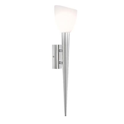 Светильник бра факел Globo 4410-1W SienaСовременные<br>Оригинальный настенный светильник в виде факела Globo 4410-1W выполненный в металлическом основании с белым матовым плафоном будет прекрасно смотреться в Вашем интерьере стиля шале. прованс или любом другом.<br><br>Тип лампы: галогенная/LED<br>Тип цоколя: G9<br>Количество ламп: 1<br>Ширина, мм: 150<br>MAX мощность ламп, Вт: 33<br>Диаметр, мм мм: 120<br>Высота, мм: 560<br>Цвет арматуры: серебристый