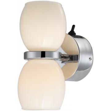 Светильник бра Globo 44200-2W DanoМодерн<br><br><br>Тип лампы: галогенная / LED-светодиодная<br>Тип цоколя: LED<br>Количество ламп: 2<br>Ширина, мм: 80<br>MAX мощность ламп, Вт: 3<br>Длина, мм: 75<br>Высота, мм: 130<br>Цвет арматуры: серебристый