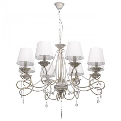 Светильник De Markt 448013008Подвесные<br><br><br>Тип лампы: Накаливания / энергосбережения / светодиодная<br>Тип цоколя: E14<br>Цвет арматуры: белый<br>Количество ламп: 8<br>Диаметр, мм мм: 650<br>Высота, мм: 1760