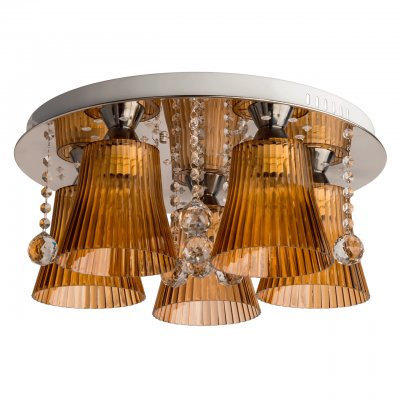 Люстра Mw light 459010505 ИвоннаПотолочные<br>Описание модели 459010505: Интересная идея светильника Ивонна интригует взор созерцателя. Такая люстра в стиле Техно станет оригинальным артефактом в интерьере, выполненном с особым видением современного стиля оформления пространства, где ценятся роскошь, качество материала и неповторимая эстетика. На металлическом хромированном основании округлой формы располагаются декоративные плафоны, которые создают инновационный световой дизайн! Чаши из цветного акрила с рельефной фактурой, хрустальный декор в виде подвесок. В ярком светильнике из коллекции Ивонна установлены лампы накаливания и диоды, поэтому присутствуют разнообразные режимы освещения, которые управляются при помощи пульта. Рекомендуемая площадь освещения - до 15 кв.м.<br><br>Установка на натяжной потолок: Да<br>S освещ. до, м2: 15<br>Крепление: Планка<br>Тип лампы: накаливания / энергосбережения / LED-светодиодная<br>Тип цоколя: E27<br>Количество ламп: 5<br>MAX мощность ламп, Вт: 60<br>Диаметр, мм мм: 500<br>Высота, мм: 440<br>Поверхность арматуры: глянцевый<br>Цвет арматуры: серебристый<br>Общая мощность, Вт: 300