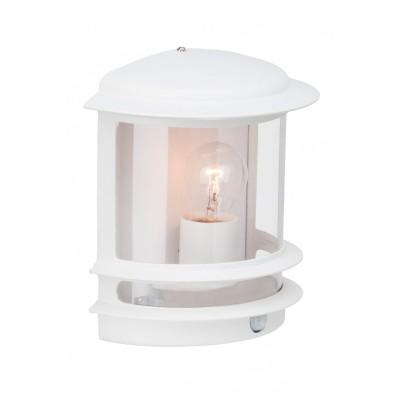 Светильник Brilliant 47897/05 HollywoodНастенные<br><br><br>Тип товара: Светильник уличный<br>Тип лампы: накал-я - энергосбер-я<br>Тип цоколя: E27<br>Количество ламп: 1<br>Ширина, мм: 235<br>MAX мощность ламп, Вт: 60<br>Расстояние от стены, мм: 130<br>Высота, мм: 240<br>Цвет арматуры: белый