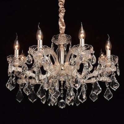 Mw light 479011608 СветильникПодвесные<br><br><br>Установка на натяжной потолок: Да<br>S освещ. до, м2: 16<br>Тип лампы: Накаливания / энергосбережения / светодиодная<br>Тип цоколя: E14<br>Количество ламп: 8<br>Диаметр, мм мм: 600<br>Высота, мм: 530 - 980<br>MAX мощность ламп, Вт: 40