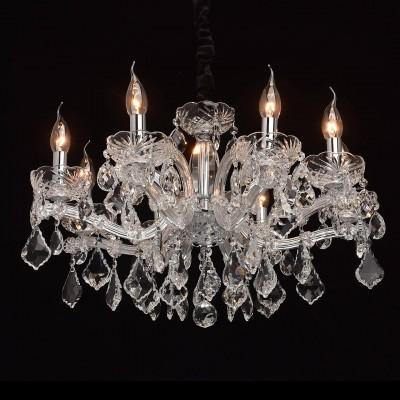 Mw light 479011708 Светильникподвесные хрустальные люстры<br><br><br>Установка на натяжной потолок: Да<br>S освещ. до, м2: 16<br>Тип лампы: Накаливания / энергосбережения / светодиодная<br>Тип цоколя: E14<br>Количество ламп: 8<br>Диаметр, мм мм: 600<br>Высота, мм: 530 - 980<br>MAX мощность ламп, Вт: 40