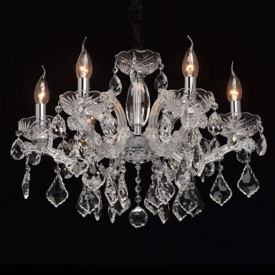 Mw light 479011906 СветильникПодвесные<br><br><br>Установка на натяжной потолок: Да<br>S освещ. до, м2: 12<br>Тип лампы: Накаливания / энергосбережения / светодиодная<br>Тип цоколя: E14<br>Цвет арматуры: серебристый<br>Количество ламп: 6<br>Диаметр, мм мм: 600<br>Высота, мм: 530 - 980<br>MAX мощность ламп, Вт: 40