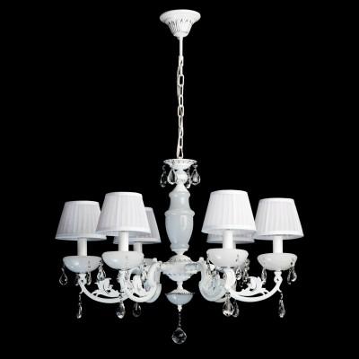 Люстра Mw light 482011006 СеленаПодвесные<br>Воздушный образ светильника из коллекции Селена манит белизной, блеском хрусталя,  и гламуром текстиля! Такая празднично-искристая люстра  будет хорошо смотреться в классическом интерьере, интерьерах в стиле модерн или другом элегантном пространстве. Металлическое основание имеет комбинированное сочетание цветов - хрома и белого. Абажур изготовлен из органзы и декорирован плиссированными складками. Крупные и прозрачные, как роса, капли хрусталя играют  струями света, украшая светильник из коллекции Селена дополнительными бликами. Рекомендуемая площадь освещения интерьерного пространства составляет для люстры Селена 12 кв.м.<br><br>Установка на натяжной потолок: Да<br>S освещ. до, м2: 18<br>Крепление: Крюк<br>Тип лампы: накаливания / энергосберегающая / светодиодная<br>Тип цоколя: E14<br>Цвет арматуры: белый<br>Количество ламп: 6<br>Диаметр, мм мм: 700<br>Длина цепи/провода, мм: 250<br>Высота, мм: 900<br>Поверхность арматуры: матовый, рельефный<br>MAX мощность ламп, Вт: 40<br>Общая мощность, Вт: 240