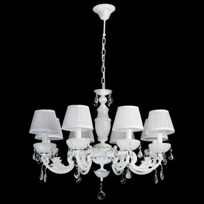 Люстра Mw light 482011108 СеленаПодвесные<br>Воздушный образ светильника из коллекции Селена манит белизной, блеском хрусталя,  и гламуром текстиля! Такая празднично-искристая люстра  будет хорошо смотреться в классическом интерьере, интерьерах в стиле модерн или другом элегантном пространстве. Металлическое основание имеет комбинированное сочетание цветов - хрома и белого. Абажур изготовлен из органзы и декорирован плиссированными складками. Крупные и прозрачные, как роса, капли хрусталя играют  струями света, украшая светильник из коллекции Селена дополнительными бликами. Рекомендуемая площадь освещения интерьерного пространства составляет для люстры Селена от 10 до 18 кв.м, в зависимости от выбранного типа и количества светильников<br><br>Установка на натяжной потолок: Да<br>S освещ. до, м2: 24<br>Крепление: Крюк<br>Тип лампы: накаливания / энергосберегающая / светодиодная<br>Тип цоколя: E14<br>Количество ламп: 8<br>MAX мощность ламп, Вт: 40<br>Диаметр, мм мм: 800<br>Длина цепи/провода, мм: 250<br>Высота, мм: 900<br>Поверхность арматуры: глянцевый<br>Цвет арматуры: белый<br>Общая мощность, Вт: 320
