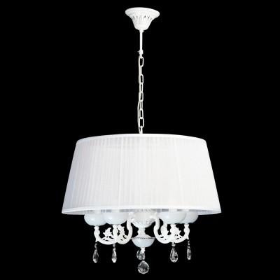 Люстра Mw light 482011305 СеленаПодвесные<br>Воздушный образ светильника из коллекции Селена манит белизной, блеском хрусталя,  и гламуром текстиля! Такая празднично-искристая люстра  будет хорошо смотреться в классическом интерьере, интерьерах в стиле модерн или другом элегантном пространстве. Металлическое основание имеет комбинированное сочетание цветов - хрома и белого. Абажур изготовлен из органзы и декорирован плиссированными складками. Крупные и прозрачные, как роса, капли хрусталя играют  струями света, украшая светильник из коллекции Селена дополнительными бликами. Рекомендуемая площадь освещения интерьерного пространства составляет для люстры Селена от 10 до 18 кв.м, в зависимости от выбранного типа и количества светильников<br><br>Установка на натяжной потолок: Да<br>S освещ. до, м2: 15<br>Крепление: Крюк<br>Тип лампы: накаливания / энергосберегающая / светодиодная<br>Тип цоколя: E14<br>Цвет арматуры: белый<br>Количество ламп: 5<br>Диаметр, мм мм: 550<br>Длина цепи/провода, мм: 250<br>Высота, мм: 900<br>Поверхность арматуры: матовый<br>MAX мощность ламп, Вт: 40<br>Общая мощность, Вт: 200